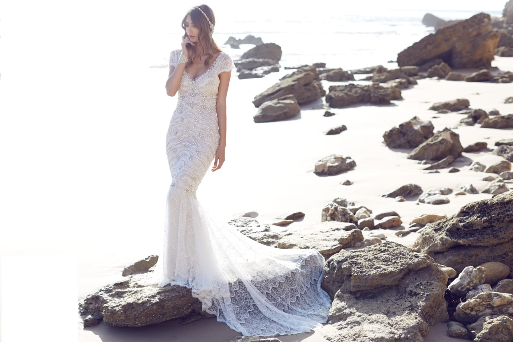 Coco Fit and Flare Embellished Wedding Dress by Anna Campbell