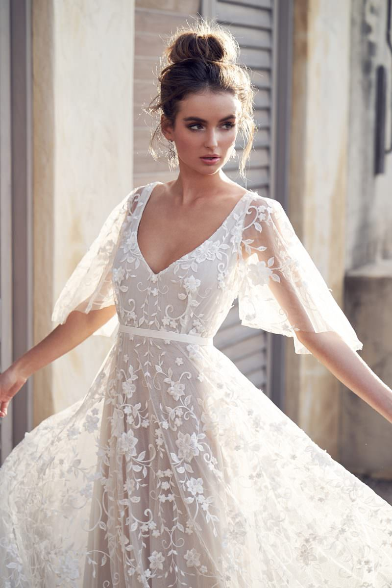 Amelie (with sleeves) Anna Campbell wedding dress bridal shop store gowns christchurch wellington